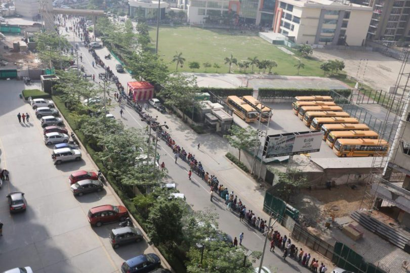 Gaur City housing complex saw longest queues of urban voters at polling stationsGaur City housing complex saw longest queues of urban voters at polling stations